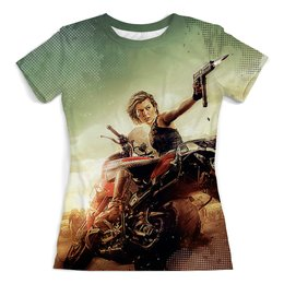 """Футболка с полной запечаткой (женская) """"Resident Evil"""" - ужастик, мотоцикл, обитель зла, милла йовович, киноманам"""