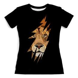 """Футболка с полной запечаткой (женская) """"Лев ( Lion)"""" - хищник, лев, lion, животное, царь зверей"""