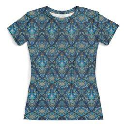 """Футболка с полной запечаткой (женская) """"Орнаментальный узор голубой"""" - узор, орнамент, стильный, модный, этнический"""