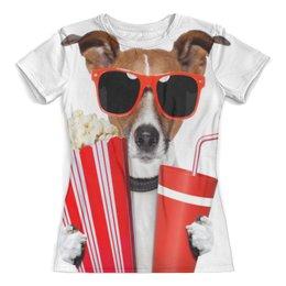 """Футболка с полной запечаткой (женская) """"Песик"""" - очки, собака, собачка, 3д, попкорн"""