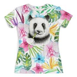 """Футболка с полной запечаткой (женская) """"Панда в листве"""" - цветы, животные, панда, листья, природа"""