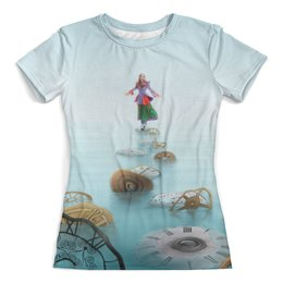 """Футболка с полной запечаткой (женская) """"Алиса"""" - девушка, сказка, время, wonderland, зазеркалье"""