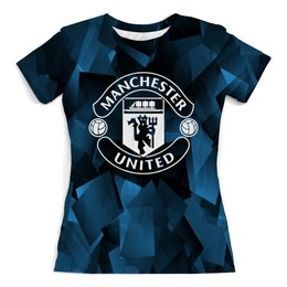 """Футболка с полной запечаткой (женская) """"Манчестер"""" - футбол, игры, спорт, манчестер юнайтед, manchester united"""
