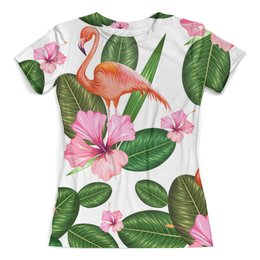 """Футболка с полной запечаткой (женская) """"Птицы и цветы"""" - цветы, листья, птицы, природа, фламинго"""