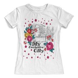 """Футболка с полной запечаткой (женская) """"Город"""" - цветы, город"""