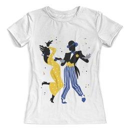 """Футболка с полной запечаткой (женская) """"Танцы. Мамбо"""" - рисунок, танцы, графика, минимализм, мамбо"""
