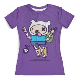 """Футболка с полной запечаткой (женская) """"Adventure time"""" - арт, adventure time, время приключений, финн, зомби"""