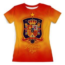 """Футболка с полной запечаткой (женская) """"Сборная Испании"""" - футбол, испания, сборная испании, сборная испании по футболу, команда испании"""