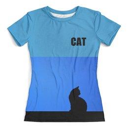 """Футболка с полной запечаткой (женская) """"CAT. Кошка"""" - кошка, стиль, рисунок, cat"""