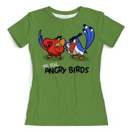 """Футболка с полной запечаткой (женская) """"The real Angry Birds (1)"""" - юмор, пародия, попугаи, птички"""