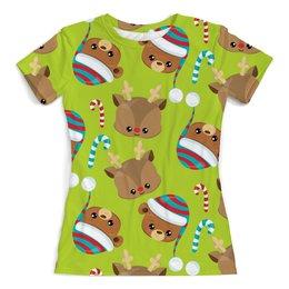 """Футболка с полной запечаткой (женская) """"Мишки"""" - конфеты, новый год, мишка, олень, медведи"""