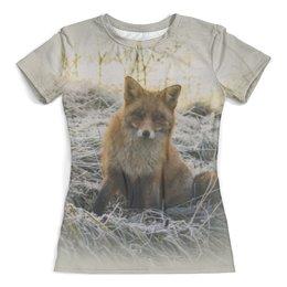 """Футболка с полной запечаткой (женская) """"Лисица"""" - лиса, лисица, лисичка, животные, природа"""
