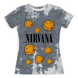 """Футболка с полной запечаткой (женская) """"Nirvana"""" - музыка, nirvana, kurt cobain, курт кобейн, нирвана"""