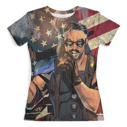"""Футболка с полной запечаткой (женская) """"Хранители / Watchmen"""" - комикс, рисунок, кино, хранители, американский флаг"""