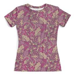 """Футболка с полной запечаткой (женская) """"Розовый дудл узор"""" - цветы, узор, орнамент, абстракция, дудл"""