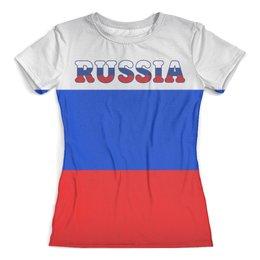 """Футболка с полной запечаткой (женская) """"Я люблю Россию"""" - дизайн"""