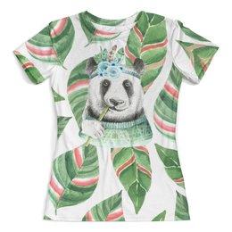 """Футболка с полной запечаткой (женская) """"Тропический лес"""" - панда, трава, тропики, животные, листья"""