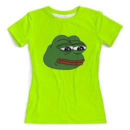 """Футболка с полной запечаткой (женская) """"Грустная лягушка"""" - мем, meme, грустная лягушка, sad frog, pepe frog"""