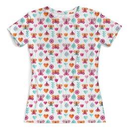 """Футболка с полной запечаткой (женская) """"Бабочки и тюльпаны"""" - цветы, бабочки, природа, тюльпаны, сердечки"""