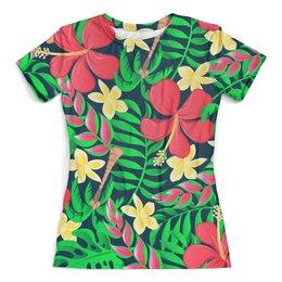 """Футболка с полной запечаткой (женская) """"Тропические цветы"""" - цветочки, листья, природа, цветы, тропики"""