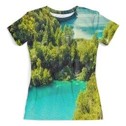 """Футболка с полной запечаткой (женская) """"Природа"""" - природа, страны, озеро, река, деревья"""