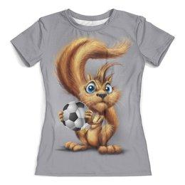 """Футболка с полной запечаткой (женская) """"Squirrel Football"""" - футбол, россия, символика, белка"""