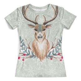 """Футболка с полной запечаткой (женская) """"Deer (олень)"""" - звезды, лес, олень, рога, deer"""