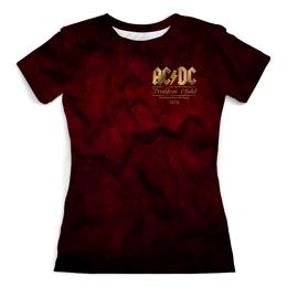 """Футболка с полной запечаткой (женская) """"AC/DC"""" - music, rock, золото, асдс, автралия"""