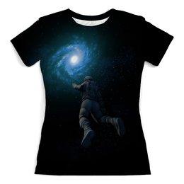 """Футболка с полной запечаткой (женская) """"Космонавт """" - звезды, космос, ночь, небо, космонавт"""