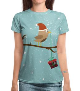 """Футболка с полной запечаткой (Женская) """"Подарочек"""" - подарок, птичка, рождество, санта, merry christmas"""