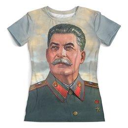 """Футболка с полной запечаткой (женская) """"STALIN"""" - вождь, коба, сталин, иосиф виссарионович"""