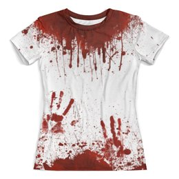 """Футболка с полной запечаткой (женская) """"Кровь"""" - кровь, хэллоуин, маньяк, зомби, в крови"""