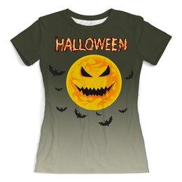 """Футболка с полной запечаткой (женская) """"Хэллоуин"""" - луна, тыква, ужасы, мистика, летучие мыши"""
