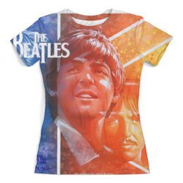 """Футболка с полной запечаткой (женская) """"The Beatles """" - the beatles, джон леннон, пол маккартни, джордж харрисон"""