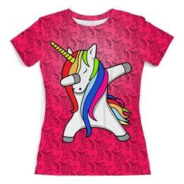 """Футболка с полной запечаткой (женская) """"Unicorn"""" - цветы, жене, лошадка, женщине, единорог"""