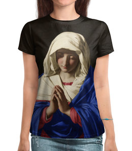 """Футболка с полной запечаткой """"Дева Мария (Джованни Батиста Сальви)"""" - картина, сальви"""