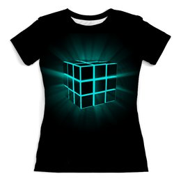 "Футболка с полной запечаткой (женская) ""Кубик Рубика"" - арт, кубик рубика"
