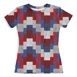 """Футболка с полной запечаткой (женская) """"Pixel"""" - абстракция, кубики, разноцветные, текстуры, в клетку"""