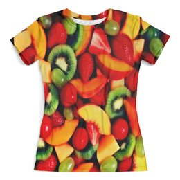 """Футболка с полной запечаткой (женская) """"Фрукты"""" - ягоды, еда, плоды, клубника, фрукты"""