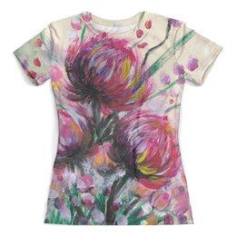 """Футболка с полной запечаткой (женская) """"Розовые хризантемы"""" - лето, цветы, розовый, пионы, хризантемы"""