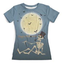 """Футболка с полной запечаткой (женская) """"Скелетон (1)"""" - луна, черный юмор, ужасы, мистика, летучие мыши"""