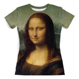 "Футболка с полной запечаткой (женская) ""Мона Лиза"" - мона лиза, леонардо да винчи, джаконда"
