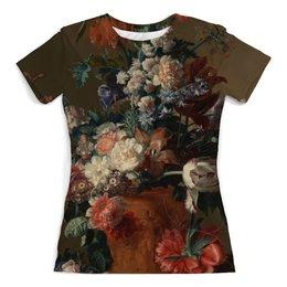 "Футболка с полной запечаткой (женская) ""Ваза с цветами (Ян ван Хёйсум)"" - цветы, картина, живопись, натюрморт, ян ван хёйсум"