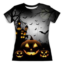"""Футболка с полной запечаткой (Женская) """"Хэллоуинская ночь"""" - крест, тыква, привидения, хэллоуинская ночь, haunted house"""