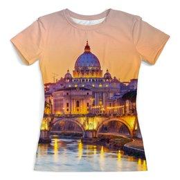 """Футболка с полной запечаткой (женская) """"Город"""" - рисунок, город, дизайн, мост, рим"""