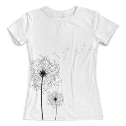 """Футболка с полной запечаткой (женская) """"рисунок одуванчик"""" - море, одуванчик, стильный рисунок, черно-белый рисунок, цветок одуванчик"""