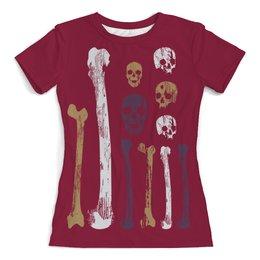"""Футболка с полной запечаткой (женская) """"Dead  состаренные кости"""" - черепа, кости, старинный, потертый, состаренный"""