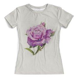 """Футболка с полной запечаткой (женская) """"Цветок"""" - цветы, роза, девушкам, природа"""