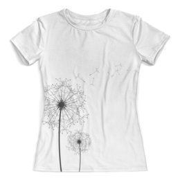 """Футболка с полной запечаткой (женская) """"рисунок одуванчик"""" - одуванчик, стильный рисунок, цветок одуванчик, море"""