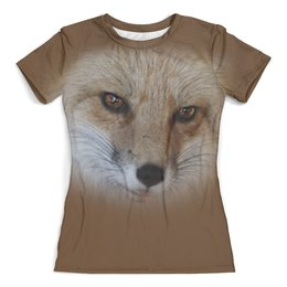 """Футболка с полной запечаткой (женская) """"Мордочка лисицы"""" - хищник, животные, мордочка, лиса, лисица"""